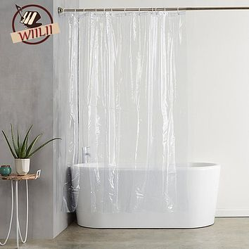 Plastic Waterproof Shower Curtain Transparent White Clear Bathroom