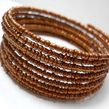Memory Wire Bracelet Copper Stacked Bracelet Beaded Wrap Bracelet