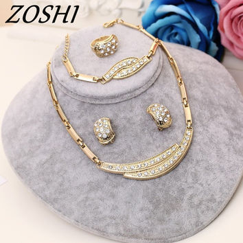 ZOSHI Fashion 2017 Austrian Crystal Jewelry Set Women's Gold Color Wedding Leaves Necklace Earrings Bracelet Ring Sets