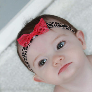 Hot Pink Bow, Cheetah Print Headband, Baby Headband, Baby Shower Gift, Photo Prop, Newborn Photography