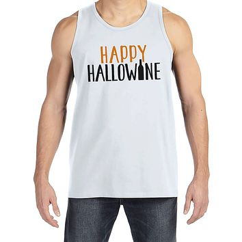 Men's Halloween Shirt - Happy HalloWINE - Adult Funny Wine Halloween Shirt - Funny Mens White Tank Top - Men's Happy Halloween Costume