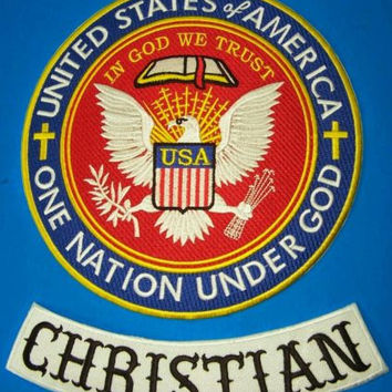 Born to Ride Christian Biker Patches set one nation under God Patriot Riders new