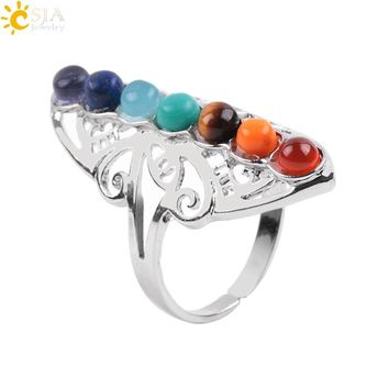 CSJA 7 Chakra Stone Bead Finger Rings Reiki Balance Meditation Healing Point Charm Adjustable Yoga Hollow Flower Women Ring E064