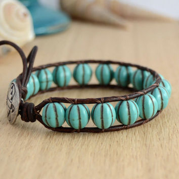 Pale turquoise wrap bracelet. Rustic beaded summer bracelet, jewelry