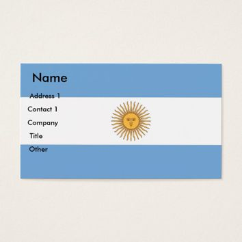 Business Card with Flag of Argentina