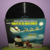 Rare Vinyl Record Rudolph The Red Nosed Reindeer Original TV Soundtrack LP 1964 Burl Ives Rankin & Bass Christmas Holiday Classic