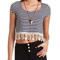 STRIPED CROCHET FRINGE CROP TOP