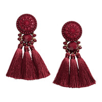 Earrings with tassels - Burgundy - Ladies | H&M GB