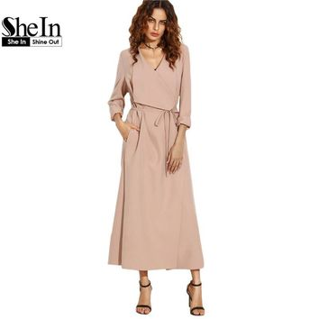 SheIn Pink Trench Long Coats For Women Ladies Long Sleeve Autumn Outerwear Drape Collar Longline Wrap Workwear Coat