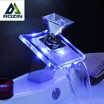Luxury Glass Waterfall Basin Faucet LED Color Changing Bathroom Battery Mixer Tap Chrome Finish