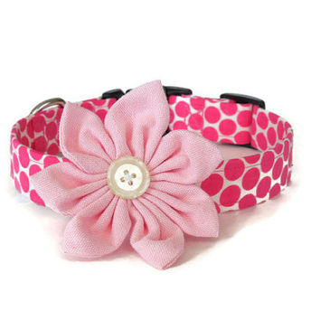 Dark Pink Polka Dots Adjustable Girl Dog Collar with Light Pink Flower