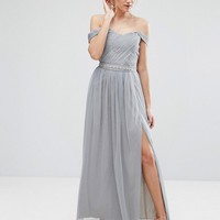 Little Mistress Tall Pleated Bust Cold Shoulder Maxi Dress at asos.com