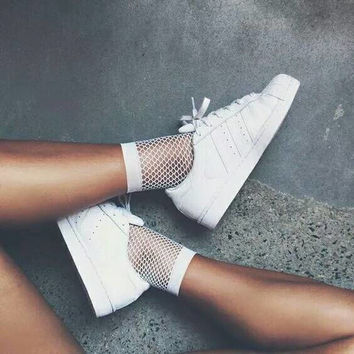 White Fishnet High Socks