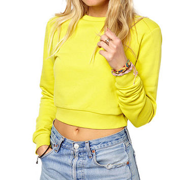 Yellow  Round Neck Crop Sweatshirt