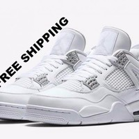 "[FREE SHIPPING] AIR JORDAN 4 (WHITE / SILVER ""PURE MONEY"") Style Code: 308497 100"