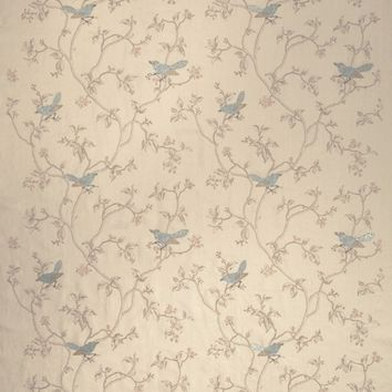 Stroheim Fabric 0650801 Dove's Toile Blue Jay
