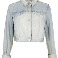 MOTO BLEACH CROP DENIM JACKET