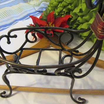 Wrought Iron Wire Christmas Reindeer Container  With Deep Red and Gold Bow to Dress Him Up for Your Holiday Home Decor - Unique Gift Idea