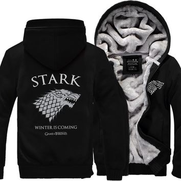 Game of Thrones Men Sweatshirts House Stark hoodies 2016 winter warm fleece thicken Winter Is Coming print men hoodie Zip Up