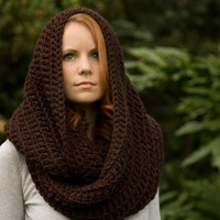 Oversized Hooded Infinity Scarf, Brown Chunky Crochet Hood