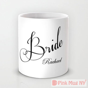 Personalized mug cup designed PinkMugNY - Wedding mug  - Bride - Custom Name