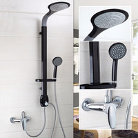 Black Bathroom Shower Set Mounted On The Wall Rain Shower Head Bathroom Bathtub Sink Tap Mixer Faucet
