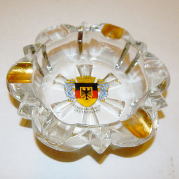 West Germany Souvenir Bundesrepublik Deutschland Gold Trim Ashtray