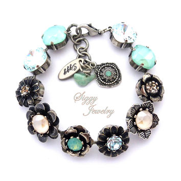 Swarovski Crystal Flower Bracelet, Mint Green, Aqua Blue, Mint opals, Ivory Cream, Cushion Cut and Round Mixed Size Crystals, LAGUNA GLAM