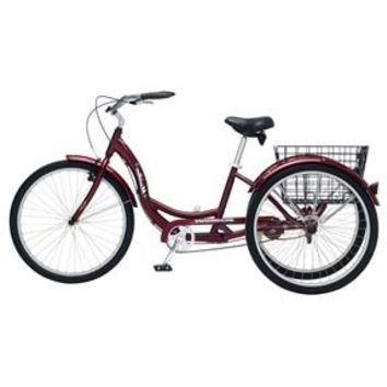 Black Cherry Single Speed Adult 3-Wheel Cruiser Bike Tricycle with Basket