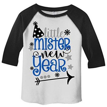Shirts By Sarah Boy's Little Mister New Year T-Shirt Year's Party Hat 3/4 Sleeve Tee