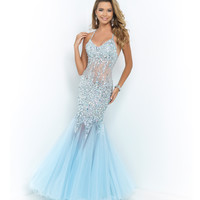 Ice Blue Halter Jeweled Illusion Midriff Sexy Low Back Gown