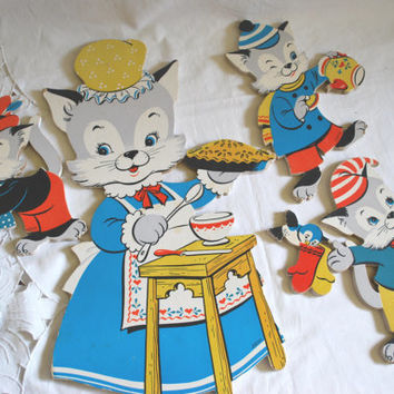Dolly Toy Nursery Deco Tree Kittens and Mittens Rhyme . Vintage Kids  Deco Collectibles