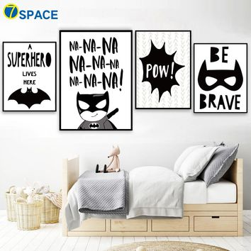 Cartoon Superhero Batman Quotes Nordic Posters And Prints Wall Art Print Canvas Painting Pop Art Wall Pictures Kids Room Decor