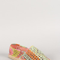Perforated Round Toe Espadrille Skimmer Loafer Flat