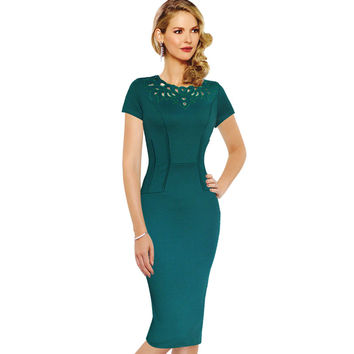 Vfemage Womens Elegant Vintage Hollow out embroidered Tunic Work Office Business Casual Party Pencil Sheath Bodycon Dress 1947