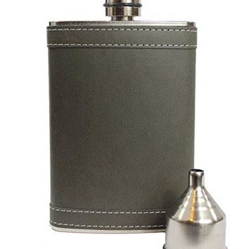 8oz Stainless Steel Primo 188304 BrownBlack PU Leather PremiumHeavy Duty Hip Flask Gift Set  Includes Funnel and Gift Box