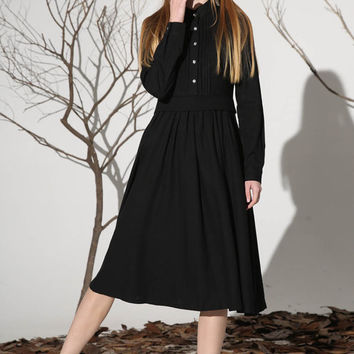 Black linen dress tea length dress women dress (1163)