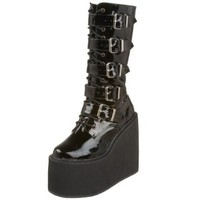 Demonia by Pleaser Women's Swing-220 5 Buckle Platform Boot,Black Patent,9 M US