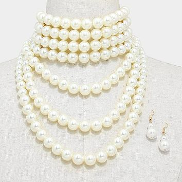 "14.50"" cream pearl choker bib layered necklace 1.75"" earrings bridal prom"