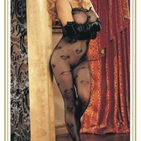 Sexy Sheer Mesh Shape Bodystocking With Heart Printed - redlapis.com