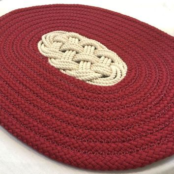 Nautical Ocean Plait Centerpiece, Spiral Rope Mat - Red