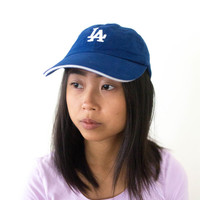 vintage dodgers blue hat, weird vtg LA, baseball cap, 1990s accessories, health goth, american apparel, tumblr, kawaii, vaporwave aesthetic
