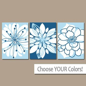 Blue Wall Art, Canvas or Prints, Blue Bedroom Pictures, Blue Bathroom Decor, Flower Outlines, Flower Burst Dahlia Set of 3 Home Decor