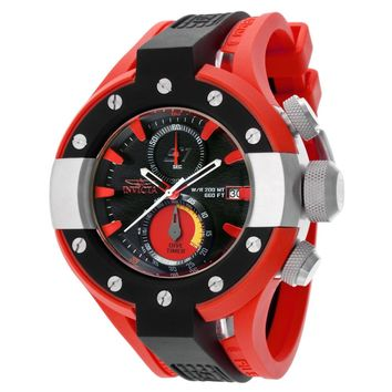 Invicta 13066 Men's S1 Rally Black Dial Black & Red Rubber Strap Chronograph Dive Watch