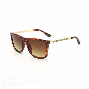 """Gucci"" Unisex Fashion Personality Leopard Square Frame Sunglasses Glasses Couple Accessories"