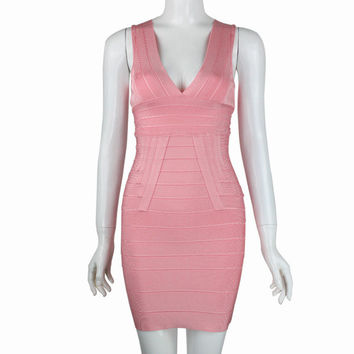 Bandages Dress Luxury Prom Dress Pink Deep V Evening Party One Piece Dress [4919737092]