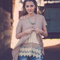 Gorgeous Lace Shirt Extender - Almond, Cream
