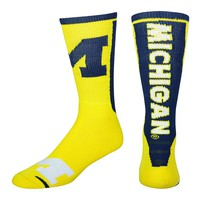 For Bare Feet Michigan Wolverines Jump Key Crew Socks - Adult, Size: L (Mic Team)