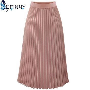 Bohemian  Skirts Womens Long Skirts Womens Elastic Waist Pleated Skirt Solid Casual Beach Boho Chiffon Skirt Summer Style Ladieswear