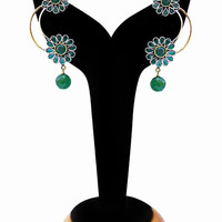 Gorgeous Green Stones Floral Earrings for Women